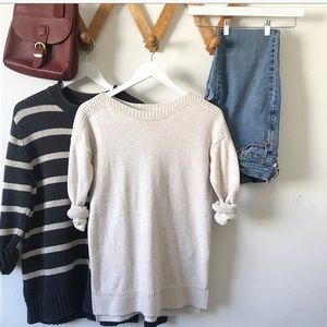 Cream textured crew neck sweater. Size small.